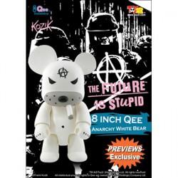 Qee Anarchy Bear White 20 cm par Frank Kozik
