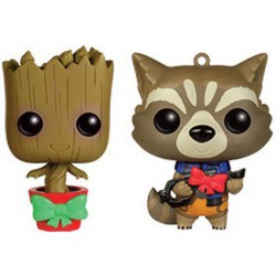 Figurine Pop Mini Marvel Les Gardiens de la Galaxie Christmas Groot and Rocket Racoon Mini Wobbler Édition Limitée Funko Bout...