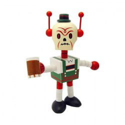 Figur Deathbot Lederhosen in wood by Tim Biskup Ningyoushi Geneva Store Switzerland