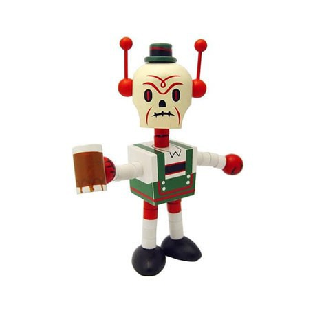 Figurine Deathbot Lederhosen en bois par Tim Biskup Ningyoushi Boutique Geneve Suisse