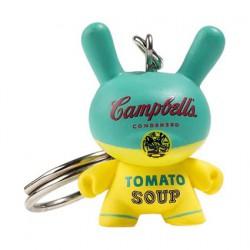 Figurine Dunny Campbell's Yellow Soup Can 1965 Porte-clés par la Fondation Andy Warhol Kidrobot Designer Toys Geneve