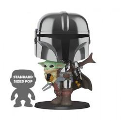 Figurine Pop 25 cm Chrome Star Wars The Mandalorian Holding The Child (Baby Yoda) Funko Boutique Geneve Suisse