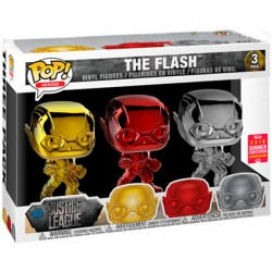 Figuren Pop SDCC 2018 Chrome Justice League The Flash Red Gold Silver 3-Pack Limitierte Auflage Funko Genf Shop Schweiz