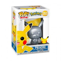 Figurine Pop Métallique Pokemon Silver Pikachu 25ème Anniversaire Edition Limitée Funko Boutique Geneve Suisse
