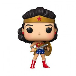Figurine Pop Wonder Woman 80th Anniversary avec Bouclier et Épée (1950's) Funko Boutique Geneve Suisse