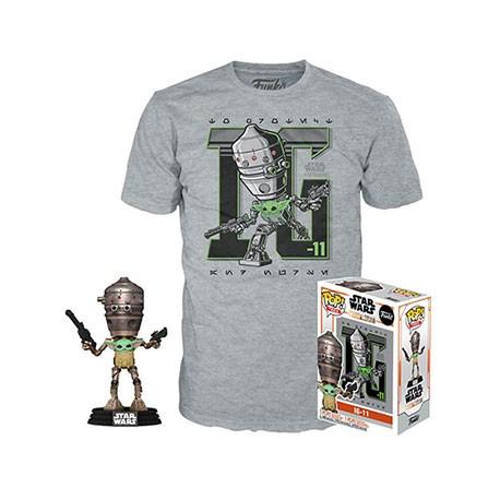 Figur Pop and T-shirt Star Wars The Mandalorian IG-11 with the Child (Grogu) Limited Edition Funko Geneva Store Switzerland