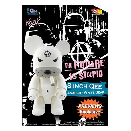 Figurine Qee Anarchy Bear White 20 cm par Frank Kozik Toy2R Boutique Geneve Suisse