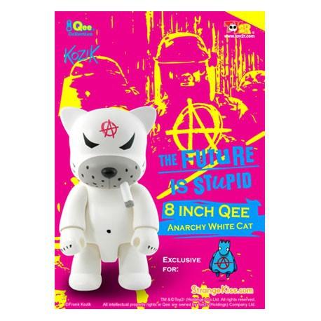 Figur Qee Anarchy Cat White 20 cm by Frank Kozik Toy2R Geneva Store Switzerland