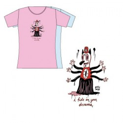 T-Shirt Bleu Femme Gary Baseman : I Hide In Your Dreams (M)