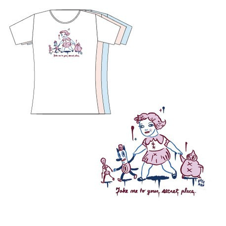 Figurine T-Shirt Blanc Femme Gary Baseman : Take Me To Your Secret Place Critter Box Vêtements - Sacs Geneve
