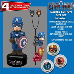 Gift Set Captain America Civil War Solar Powered Body Knocker 15cm Earbugs Scalers & Hubsnaps Limited Edition