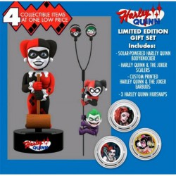 Gift Set DC Comics Harley Quinn Solar Powered Body Knocker 15cm Earbugs Scalers & Hubsnaps Limited Edition